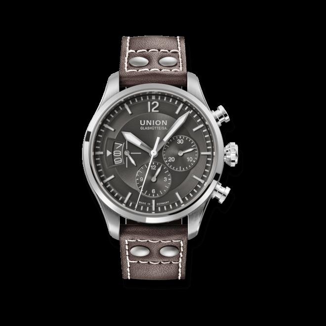 Herrenuhr Union Glashütte Belisar Pilot Chronograph mit anthrazitfarbenem Zifferblatt und Kalbsleder-Armband