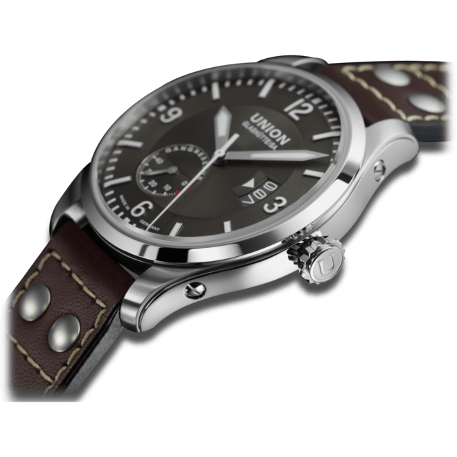 Herrenuhr Union Glashütte Belisar Pilot mit anthrazitfarbenem Zifferblatt und Kalbsleder-Armband