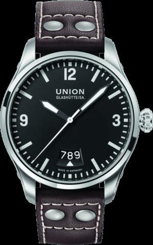 Herrenuhr Union Glashütte Belisar Pilot Datum mit schwarzem Zifferblatt und Kalbsleder-Armband