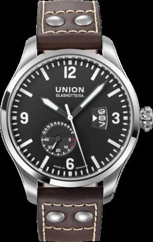 Herrenuhr Union Glashütte Belisar Pilot Gangreserve mit schwarzem Zifferblatt und Kalbsleder-Armband