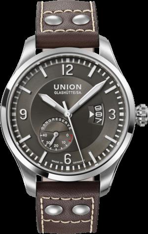 Herrenuhr Union Glashütte Belisar Pilot Gangreserve mit anthrazitfarbenem Zifferblatt und Kalbsleder-Armband