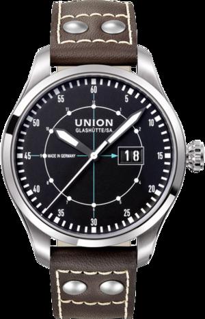 Herrenuhr Union Glashütte Pilot Grossdatum mit schwarzem Zifferblatt und Kalbsleder-Armband