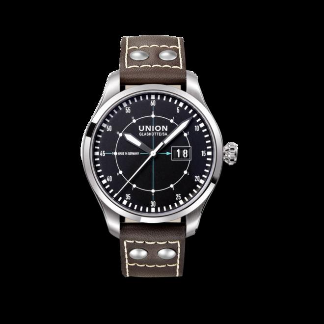 Herrenuhr Union Glashütte Pilot Grossdatum mit schwarzem Zifferblatt und Kalbsleder-Armband bei Brogle