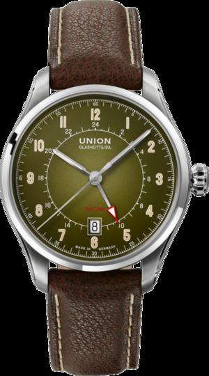 Herrenuhr Union Glashütte Belisar Zeitzone mit grünem Zifferblatt und Ziegenleder-Armband