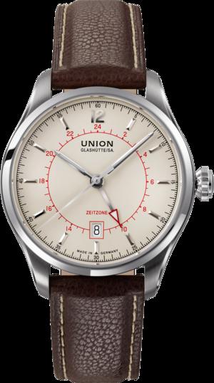 Herrenuhr Union Glashütte Belisar Zeitzone mit cremefarbenem Zifferblatt und Kalbsleder-Armband