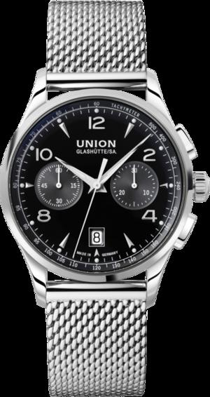 Herrenuhr Union Glashütte Noramis Chronograph mit schwarzem Zifferblatt und Edelstahlarmband