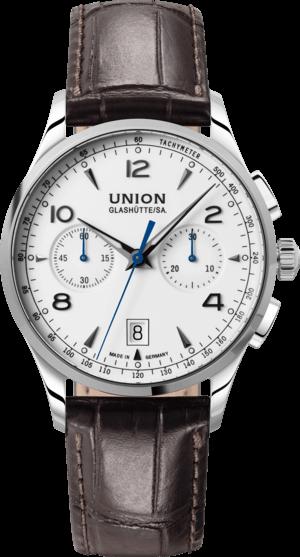 Herrenuhr Union Glashütte Noramis Chronograph mit weißem Zifferblatt und Armband aus Kalbsleder mit Krokodilprägung