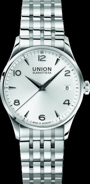 Damenuhr Union Glashütte Noramis Datum 34mm mit silberfarbenem Zifferblatt und Edelstahlarmband