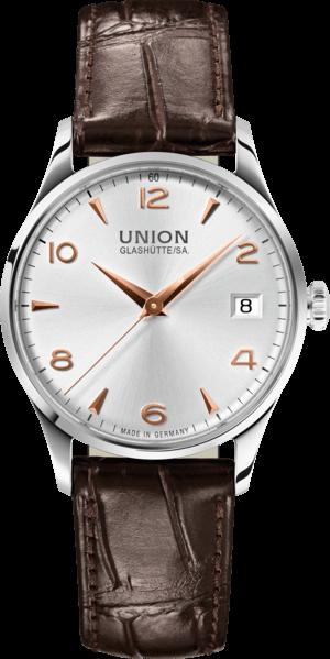 Damenuhr Union Glashütte Noramis Datum 34mm mit silberfarbenem Zifferblatt und Armband aus Kalbsleder mit Krokodilprägung