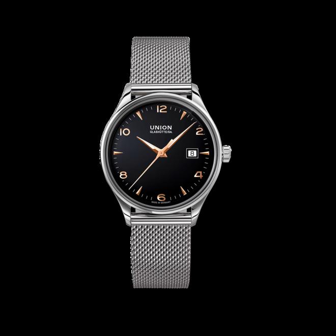 Armbanduhr Union Glashütte Noramis Datum 40mm mit schwarzem Zifferblatt und Edelstahlarmband bei Brogle