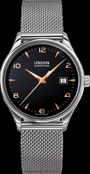 Armbanduhr Union Glashütte Noramis Datum 40mm mit schwarzem Zifferblatt und Edelstahlarmband