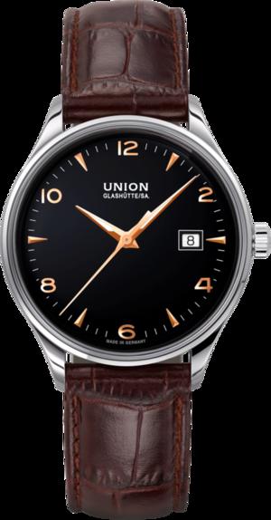 Armbanduhr Union Glashütte Noramis Datum 40mm mit schwarzem Zifferblatt und Kalbsleder-Armband
