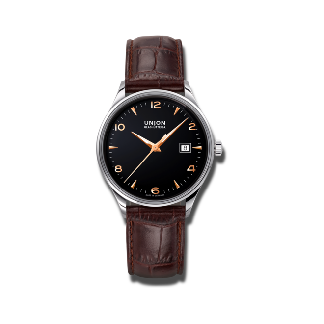 Armbanduhr Union Glashütte Noramis Datum 40mm mit schwarzem Zifferblatt und Kalbsleder-Armband bei Brogle