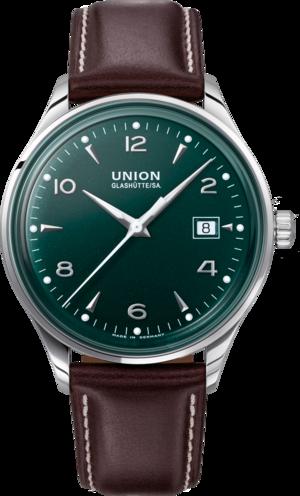 Herrenuhr Union Glashütte Noramis Datum 40mm mit grünem Zifferblatt und Pferdeleder-Armband