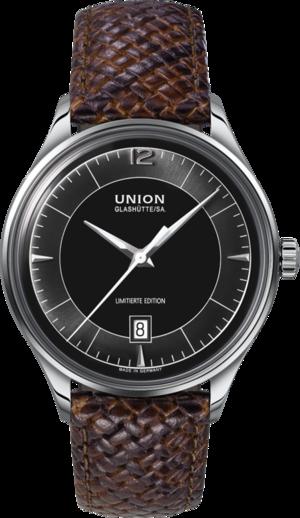 Herrenuhr Union Glashütte Noramis Datum ADAC Deutschland Klassik 40mm mit schwarzem Zifferblatt und Kalbsleder-Armband