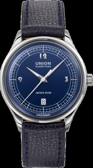 Armbanduhr Union Glashütte Noramis Datum, Limiterte Edition ADAC Deutschland Klassik 2021 mit blauem Zifferblatt und Kalbsleder-Armband