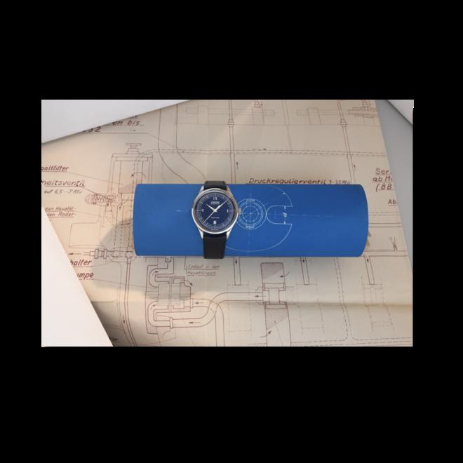 Armbanduhr Union Glashütte Noramis Datum, Limiterte Edition ADAC Deutschland Klassik 2021 mit blauem Zifferblatt und Kalbsleder-Armband bei Brogle