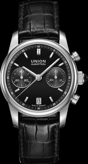 Damenuhr Union Glashütte Seris Chronograph mit schwarzem Zifferblatt und Armband aus Kalbsleder mit Krokodilprägung