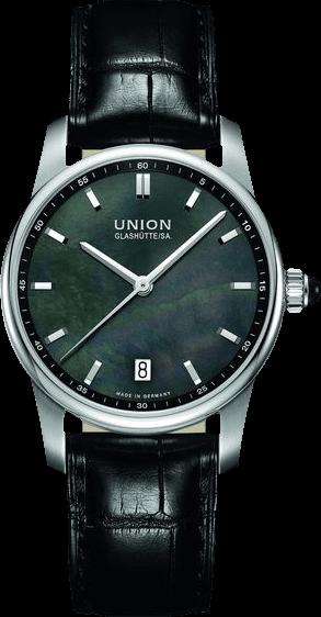 Damenuhr Union Glashütte Seris Datum mit schwarzem Zifferblatt und Kalbsleder-Armband