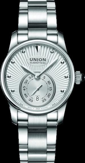 Damenuhr Union Glashütte Seris Kleine Sekunde mit silberfarbenem Zifferblatt und Edelstahlarmband
