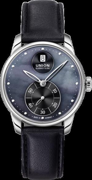 Damenuhr Union Glashütte Seris Kleine Sekunde mit schwarzem Zifferblatt und Kalbsleder-Armband