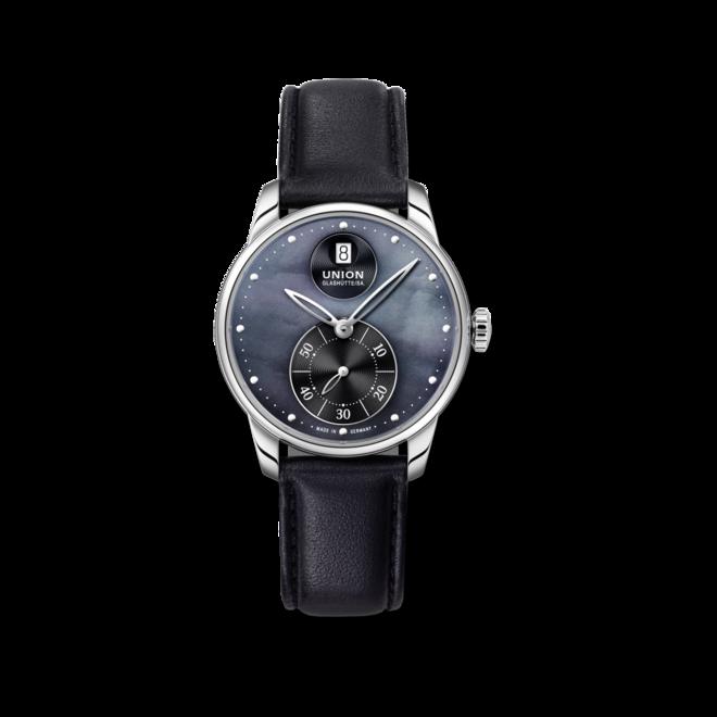 Damenuhr Union Glashütte Seris Kleine Sekunde mit schwarzem Zifferblatt und Kalbsleder-Armband bei Brogle