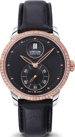 Damenuhr Union Glashütte Seris Kleine Sekunde mit Diamanten, schwarzem Zifferblatt und Kalbsleder-Armband