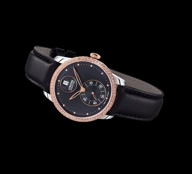 Damenuhr Union Glashütte Seris Kleine Sekunde mit Diamanten, schwarzem Zifferblatt und Kalbsleder-Armband bei Brogle