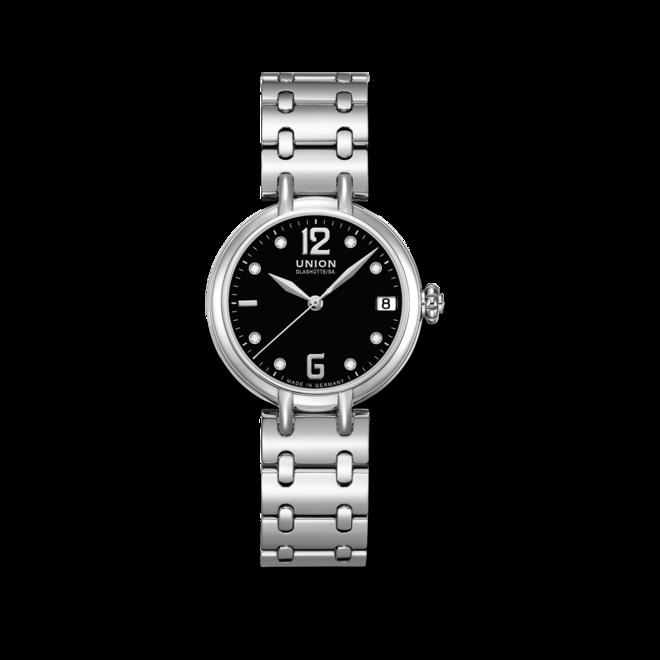 Damenuhr Union Glashütte Sirona Datum mit Diamanten, schwarzem Zifferblatt und Edelstahlarmband bei Brogle