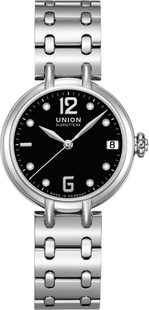 Damenuhr Union Glashütte Sirona Datum mit Diamanten, schwarzem Zifferblatt und Edelstahlarmband