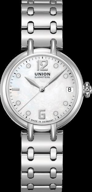 Damenuhr Union Glashütte Sirona Datum mit Diamanten, perlmuttfarbenem Zifferblatt und Edelstahlarmband
