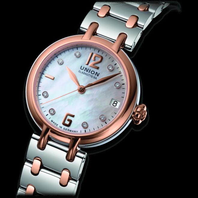 Damenuhr Union Glashütte Sirona Datum mit Diamanten, perlmuttfarbenem Zifferblatt und Edelstahlarmband bei Brogle
