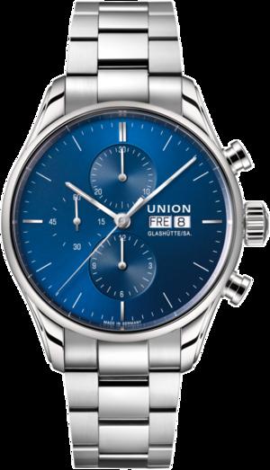 Herrenuhr Union Glashütte Viro Chronograph mit blauem Zifferblatt und Edelstahlarmband