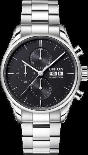 Herrenuhr Union Glashütte Viro Chronograph mit schwarzem Zifferblatt und Edelstahlarmband