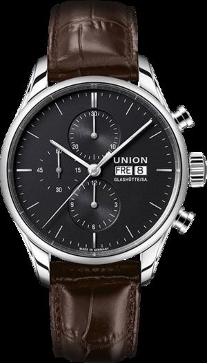 Herrenuhr Union Glashütte Viro Chronograph mit anthrazitfarbenem Zifferblatt und Kalbsleder-Armband