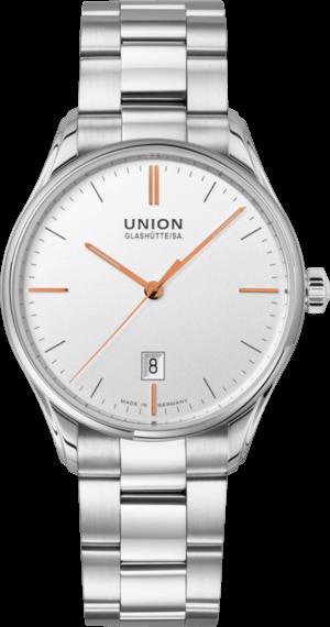Herrenuhr Union Glashütte Viro Datum Herren mit weißem Zifferblatt und Edelstahlarmband
