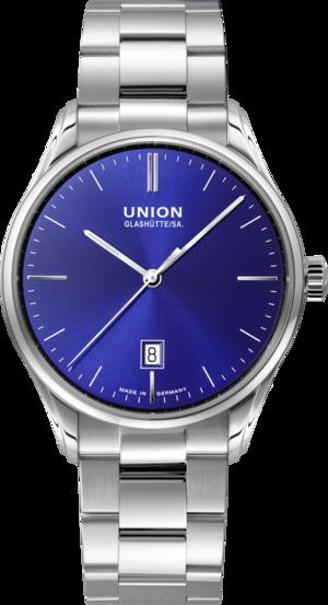 Herrenuhr Union Glashütte Viro Datum Herren mit blauem Zifferblatt und Edelstahlarmband