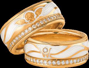 Ring Wellendorff Beschütze mich aus 750 Gelbgold und Wellendorff-Kaltemaille mit mehreren Brillanten (0,487 Karat)