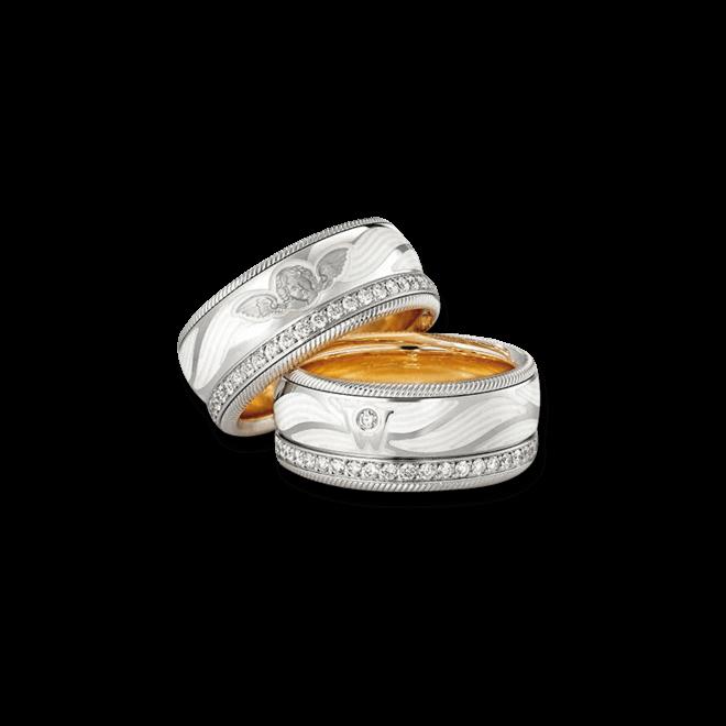 Ring Wellendorff Beschütze mich aus 750 Weißgold und Wellendorff-Kaltemaille mit mehreren Brillanten (0,487 Karat) bei Brogle