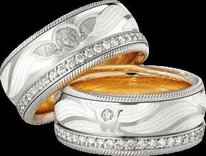 Ring Wellendorff Beschütze mich aus 750 Weißgold und Wellendorff-Kaltemaille mit mehreren Brillanten (0,487 Karat)