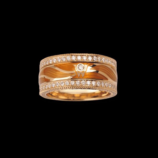 Ring Wellendorff Zauber des Glücks aus 750 Gelbgold und Emaille mit mehreren Brillanten (1,57 Karat)