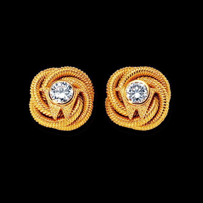 Ohrstecker Wellendorff Brillantknoten aus 750 Gelbgold mit 2 Brillanten (2 x 0,3 Karat)
