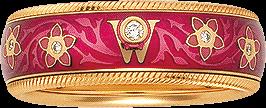 Ring Wellendorff Himbeere aus 750 Gelbgold und Emaille mit mehreren Brillanten (0,067 Karat)
