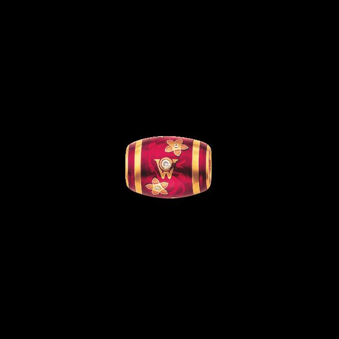 Ronde Wellendorff Himbeere aus 750 Gelbgold und Emaille mit mehreren Brillanten (0,06 Karat)