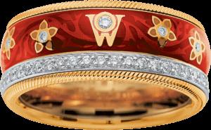 Ring Wellendorff Kirsche aus 750 Gelbgold und Wellendorff-Kaltemaille mit mehreren Brillanten (0,537 Karat)