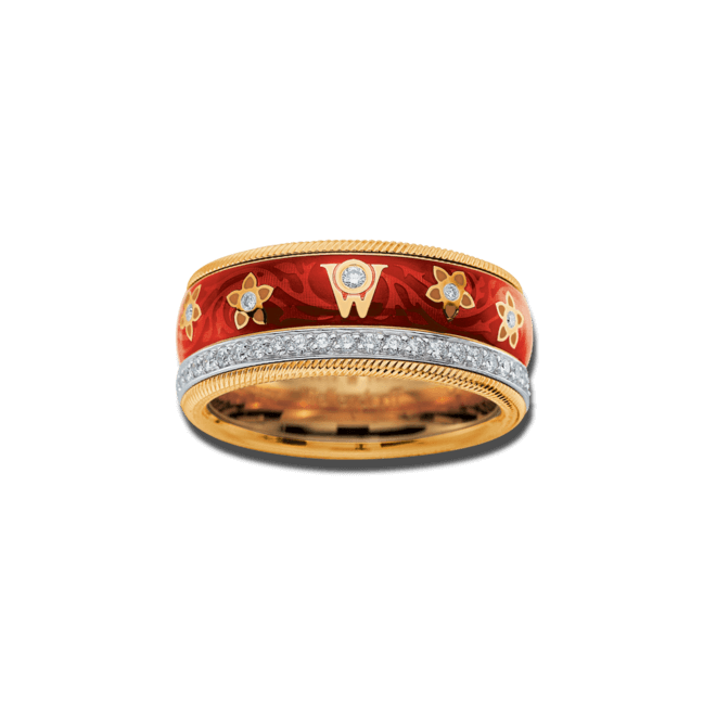Ring Wellendorff Kirsche aus 750 Gelbgold und Wellendorff-Kaltemaille mit mehreren Brillanten (0,537 Karat) bei Brogle