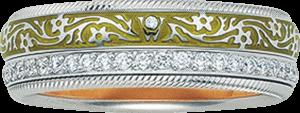 Ring Wellendorff Olive aus 750 Weißgold und Emaille mit mehreren Brillanten (0,475 Karat)