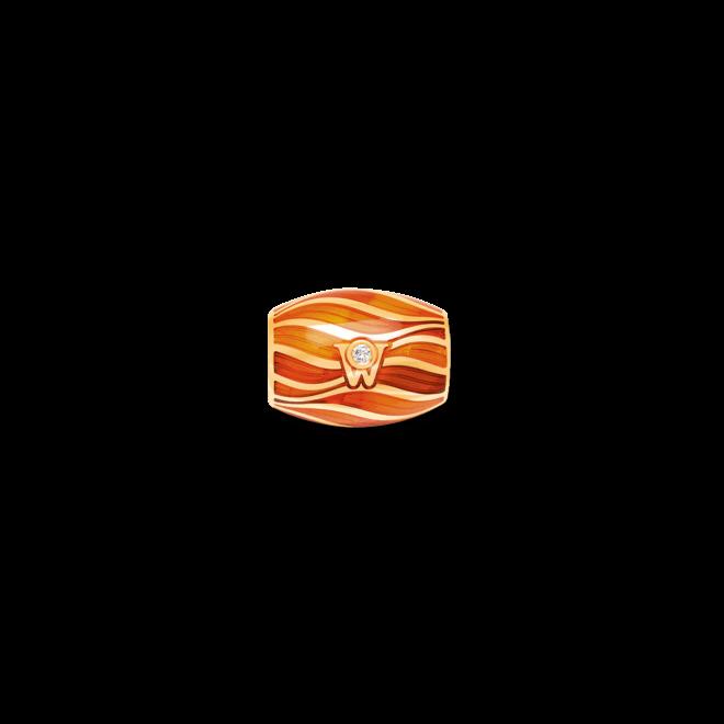 Ronde Wellendorff Korallenzauber aus 750 Gelbgold und Emaille mit 1 Brillant (0,017 Karat)