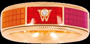 Ring Wellendorff Sonnenspiel aus 750 Gelbgold und Emaille mit 1 Brillant (0,017 Karat)