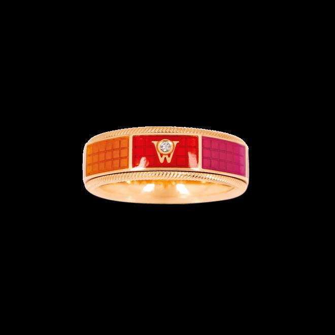 Ring Wellendorff Sonnenspiel aus 750 Gelbgold und Emaille mit 1 Brillant (0,01 Karat)